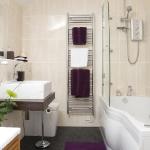Bathroom in beige tile.