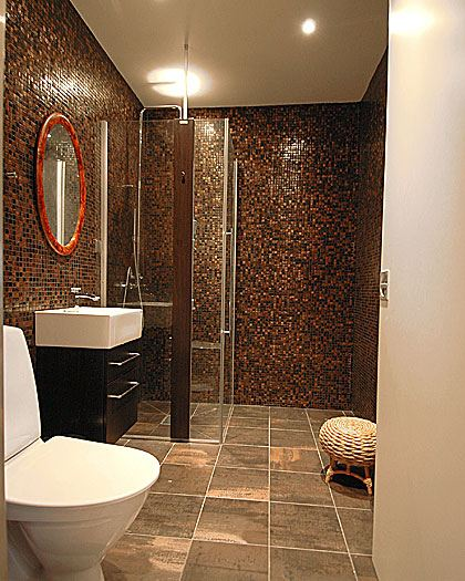 Bathroom in brown tile part 1 in bathroom tile design for Bathroom ideas tan