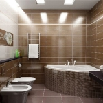 Bathroom in brown tile.