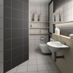 Bathroom in grey tile.