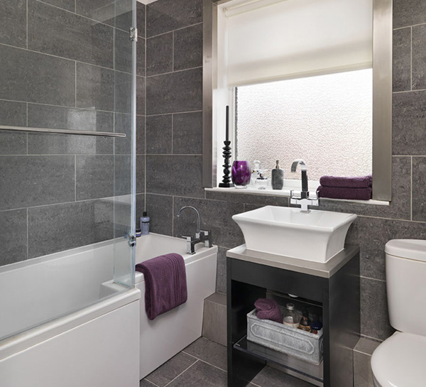 Bathroom in grey tile part 2 in bathroom tile design for Small bathroom ideas uk