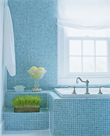 Simple Light Blue Mosaic Tile Bathroom Wall Along With Corner Glass Shower