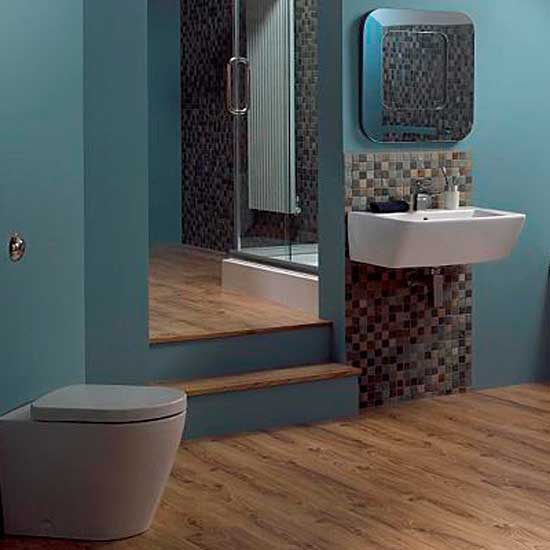 bathroom in blue and brown beige tile