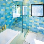 bathroom in blue and other tile
