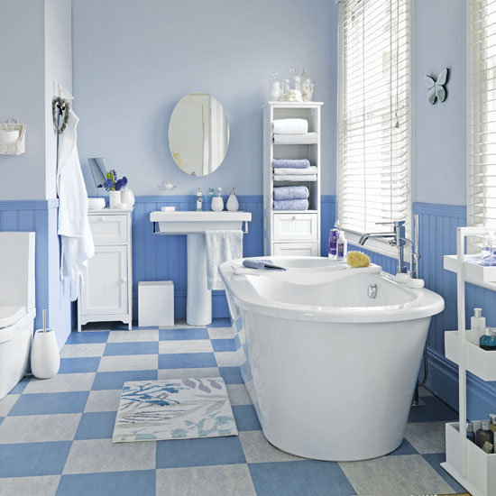 5 techniques to use blue color in bathroom tile design in for Blue sky bathroom tile floor decoration
