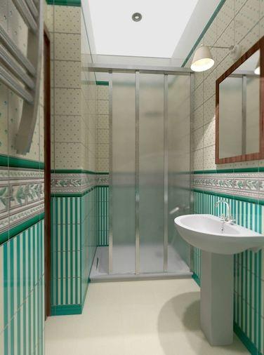 Bathroom in green tile - shower.