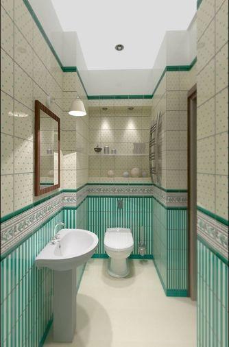 Bathroom in green tile - washbowl.