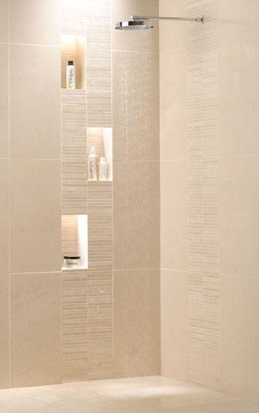 Shower idea from Ardennes limestone tiles