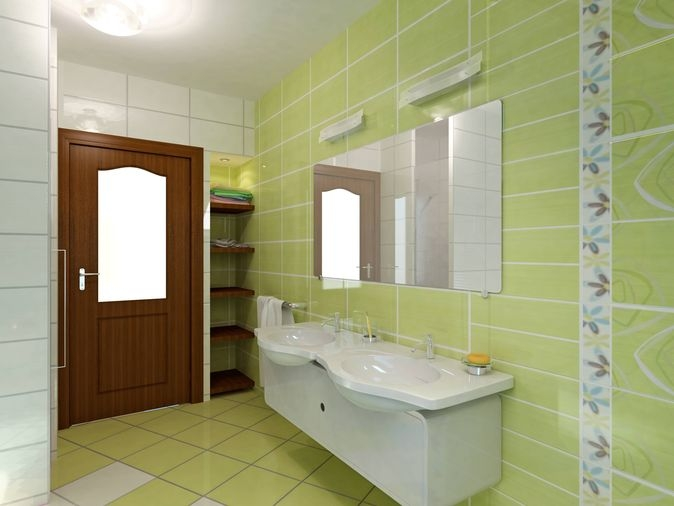 Green tile bathroom in bathroom tile design ideas on floor for Green bathroom ideas