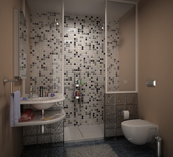 Bathroom in grey tile for Toilet tiles design