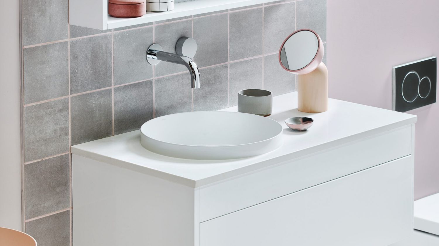 Simple white bathroom vanity in combination with grey tiles creates calm and modern athmosphere // reece.com.au