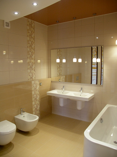 Bathroom in beige tile part 3 ftd company san jose california Beige brown bathroom design