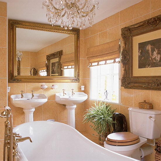 Bathroom in brown tile part 5 ftd company san jose for Brown and gold bathroom decor