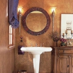 Bathroom in brown tile.