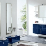 bathroom in blue furniture and sanity