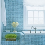 bathroom in blue mosaic tile