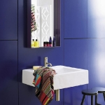 bathroom in navy blue tile