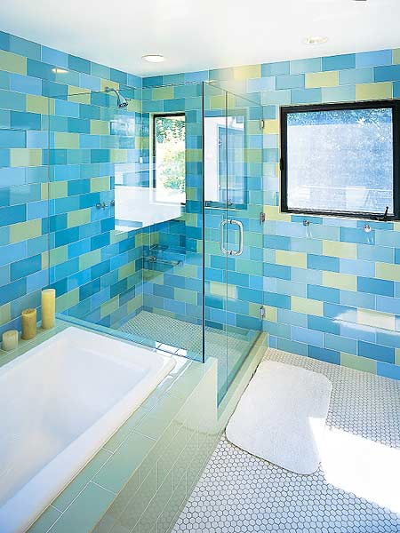5 techniques to use blue color in bathroom tile design for Blue sky bathroom tile floor decoration