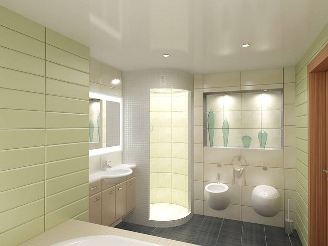 Bathroom design in green tile - shower