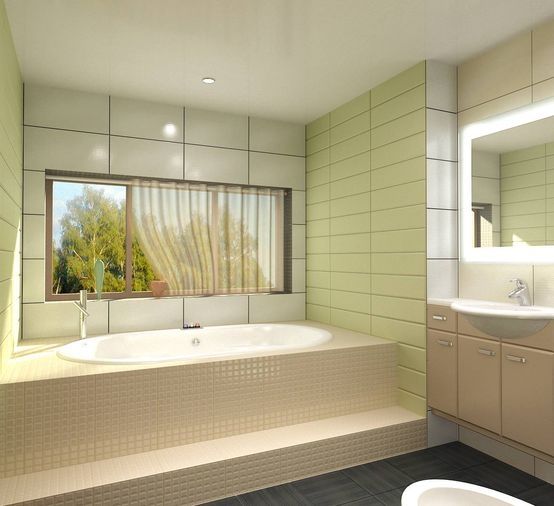 Bathroom design in green tile
