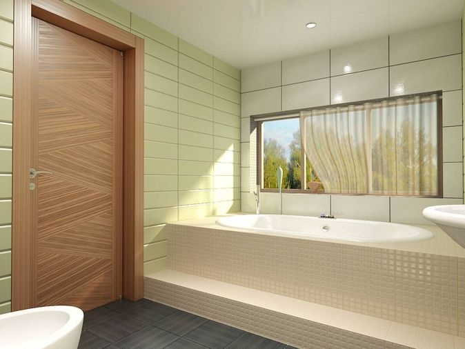 Bathroom design in green tile - bath