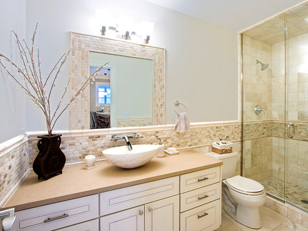 Bathroom in beige tile.